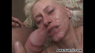 Amateur blonde girl friend gangbang with bukkake