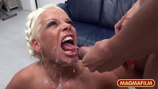 Horny Blonde German slut in amateur gangbang xxx cumshot